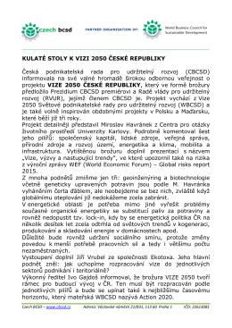 KULATÉ STOLY K VIZI 2050 ČESKÉ REPUBLIKY Česká