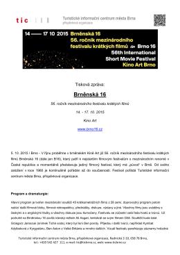Tisková zpráva k 56. Brněnské 16 z 5. 10. 2015