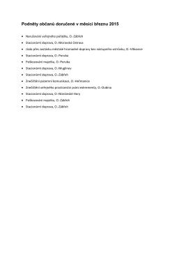 Podněty občanů doručené v měsíci březnu 2015