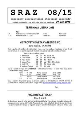 SRAZ 08/15 spastický reprezentační atletický zpravodaj