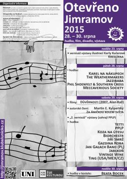 Leták 2015  - Festival Otevřeno Jimramov