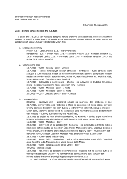 Zápis z členské schůze 7.8.2015