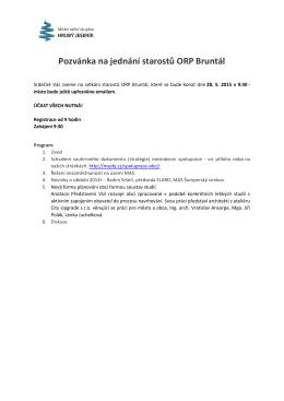 Pozvánka na jednání starostů ORP Bruntál