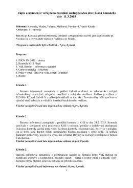 Veřejné zasedání zastupitelstva 11.3.2015