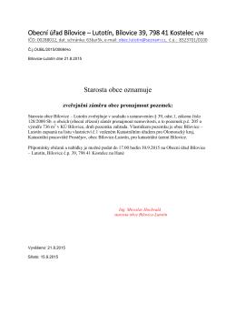 Záměr pronájmu pozemku p. č. 205 u č. p. 35