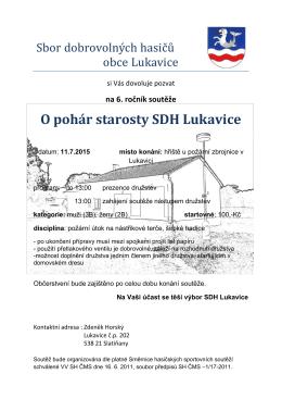 na 6. ročník soutěže O pohár starosty SDH Lukavice