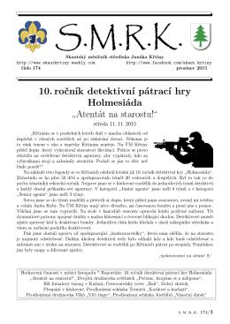"""10. ročník detektivní pátrací hry Holmesiáda """"Atentát na starostu!"""