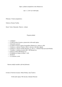 Zápis z jednání zastupitelstva obce Bušanovice dne 5