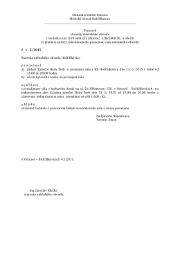 Usnesení starosty 5/2015