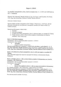 Zápis č. 2/2015 starostu obce podpisem smlouvy o dílo na