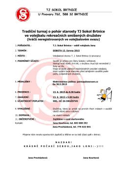 Tradiční turnaj o pohár starosty TJ Sokol Brtnice ve volejbalu