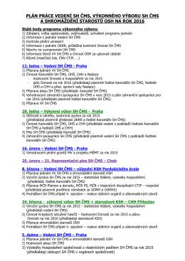 Plán práce vedení, VV a SS OSH SH ČMS 2016