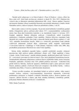 """Výstava """"Mistr Jan Hus a jeho svět"""" v Národním"""