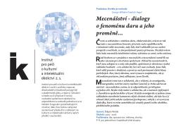 Mecenášství - dialogy o fenoménu daru a jeho proměně