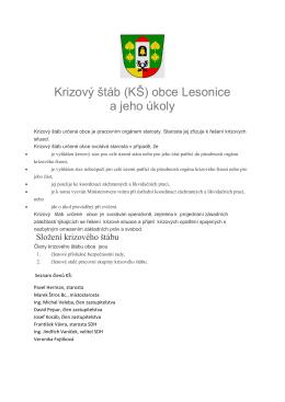 Krizový štáb (KŠ) obce Lesonice a jeho úkoly