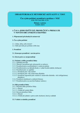 OBSAH PUBLIKACE METODICKÉ AKTUALITY č. 7/2015 Čas a jeho