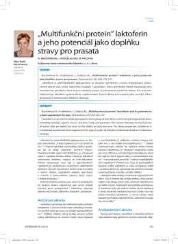 """""""Multifunkční protein"""" laktoferin a jeho potenciál jako doplňku stravy"""
