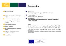 Program semináře Úspěšné řízení projektu v průběhu jeho realizace