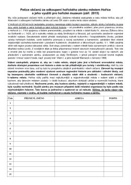 Petice občanů za odkoupení hořického zámku městem Hořice a
