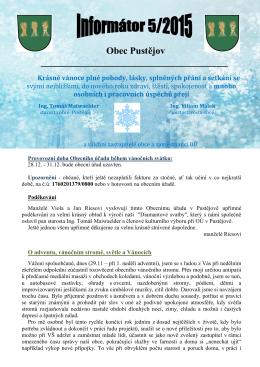 Obec Pustějov Krásné vánoce plné pohody, lásky, splněných přání