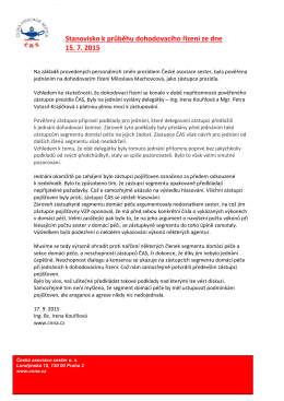 Stanovisko k průběhu dohodovacího řízení ze dne 15. 7. 2015