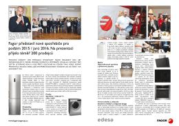 Magazín SELL - Představení novinek FAGOR 2015/2016