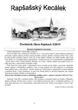 Rapšašský Kecálek - 3. číslo roku 2015