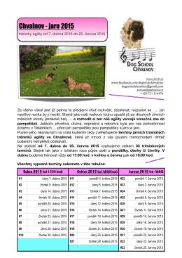 program našich tréninků na období od 7. dubna do 25. června 2015