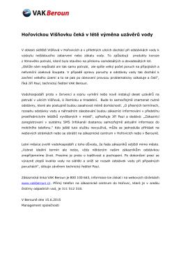 16.6.2015 Hořovickou Višňovku čeká v létě výměna uzávěrů vody