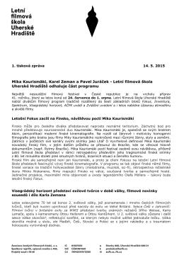 1. tisková zpráva LFŠ 2015 - Letní filmová škola Uherské Hradiště