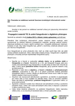 Pozvánka na vzdělávání v kraji Vysočina dne 6.5.2015