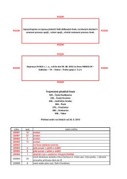Přehled změn platných od 30. 8. 2015 na linkách v závazku