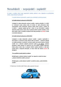 Pozor na auta v depozitu hrozí jejich administrativní zánik 5 10 2015