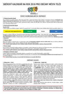 Sběrový kalendář na rok 2016 pro občany Telče