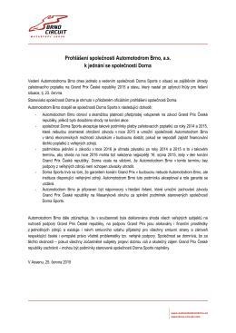Prohlášení společnosti Automotodrom Brno