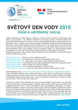 SVĚTOVÝ DEN VODY 2015