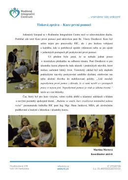 Tisková zpráva – Kurz první pomoci