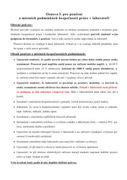Osnova L pro poučení o místních podmínkách bezpečnosti práce v