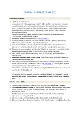 pokyny – odborná praxe - Vyšší odborná škola informačních služeb