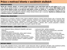 Práce s motivací klienta v sociálních službách