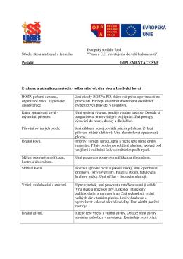 Evaluace a aktualizace metodiky odborného výcviku oboru