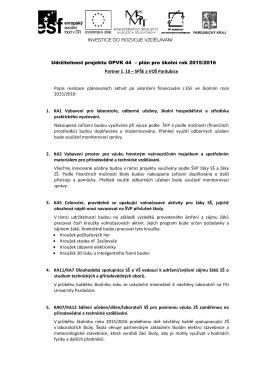 Udržitelnost projektu OPVK 44 – plán pro školní rok 2015/2016