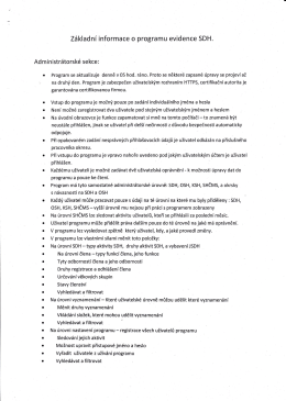 Informace k programu evidence SDH