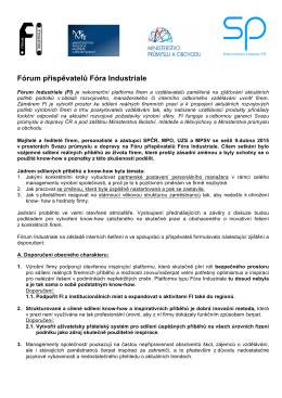 Doporučení Fóra přispěvatelů FI (zde)