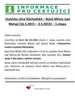 Uzavírka ulice Náchodská – Nové Město nad Metují (16.3.2015