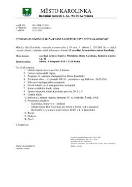 Informace o konání 12. zasedání Zastupitelstva Města