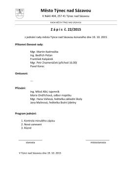 Zápis č. 22/2015 z jednání rady města konaného dne 19.10.2015