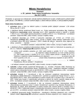 Usnesení z 25. jednání Rady města v Horažďovicích konaného dne