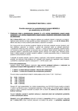 Pravidla ubytování pro rok 2015-16