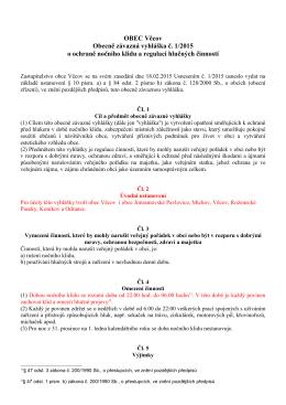 OZV č. 1/2015 o ochraně nočního klidu